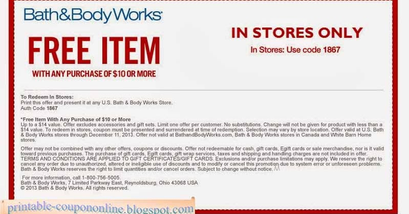Coupon bath and body works printable 2018