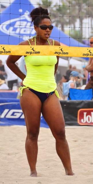 black beach volleyball players
