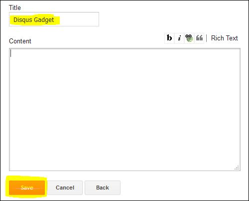 Disqus Gadget, Blogspot, manually add disqus