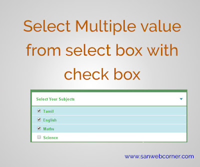 Select Multiple value from select box with check box