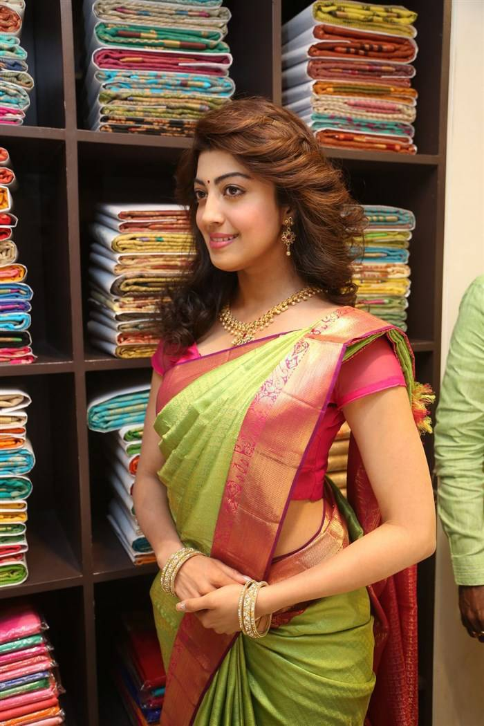 Pranitha Hot Hip Photos In Traditional Green Saree At Showroom Launch