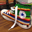 Refashion Co-op: Mexican Blanket Patched and Embroidered Converse High Top Sneakers