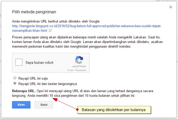 Google Batasi 10 Kali Submit URL di Google Fetch Console