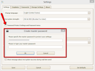 Image shows how to set a master password for PDF Postman add-on for MS Outlook.