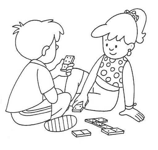 Desenho Criancas Brincando De Domino Colorir E Pintar