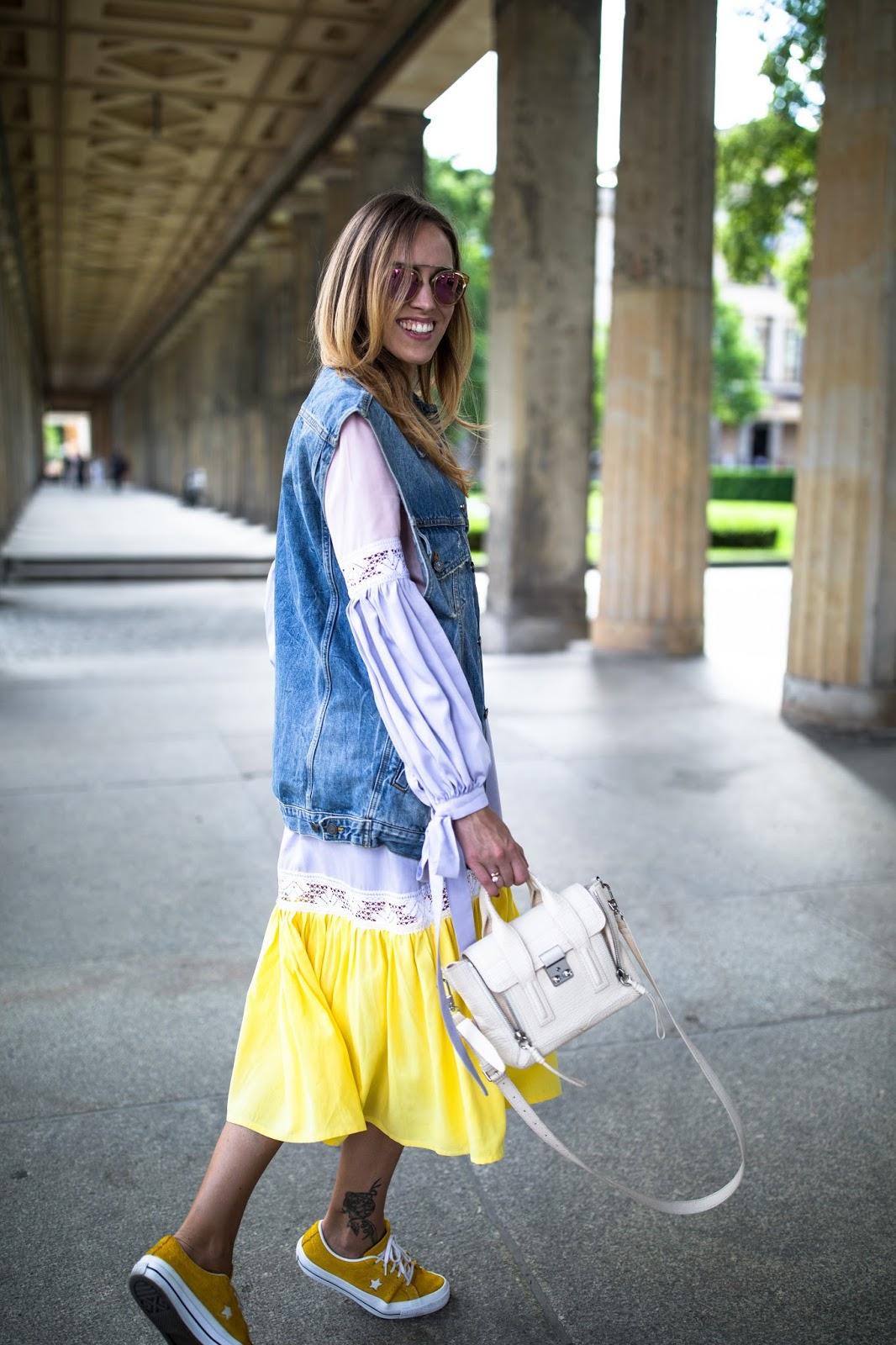 yellow long sleeve midi dress summer style