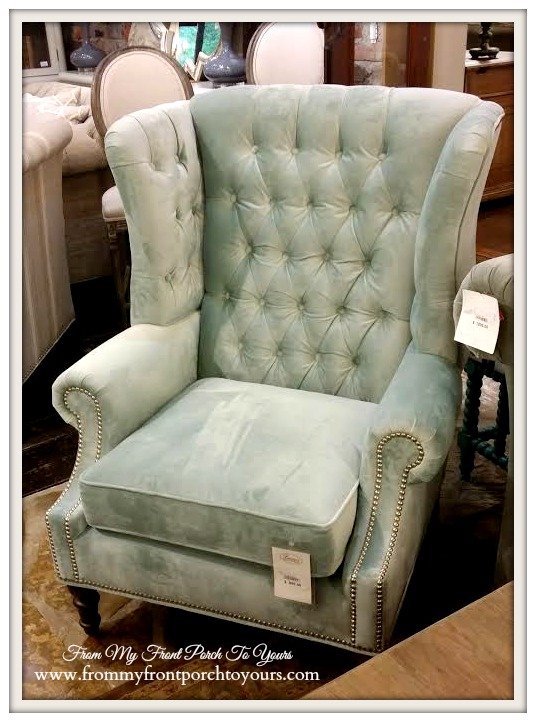 Laurie's Home Furnishings- Seafood Wingback Chair With Nailheads-From My Front Porch To Yours