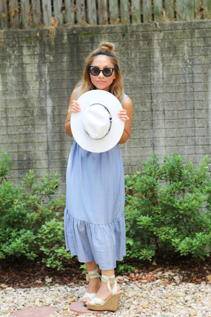 Blue Tie Maxi Dress