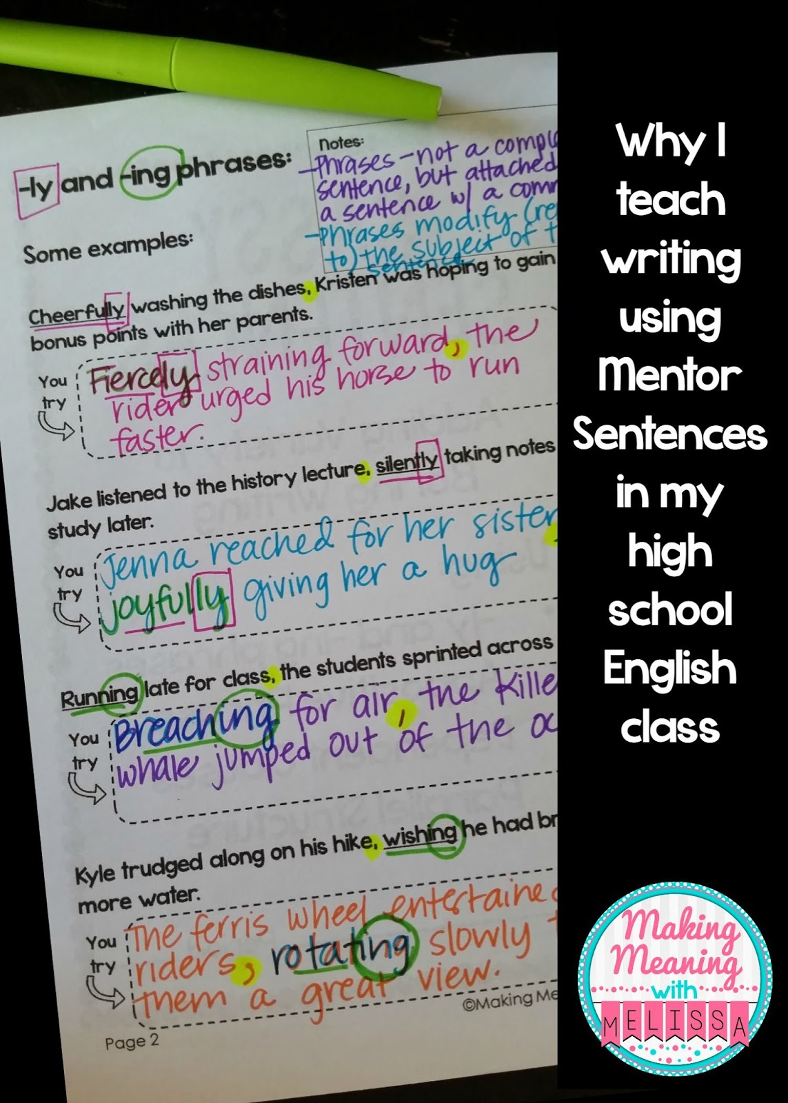 Why I Use Mentor Sentences To Teach Writing In My High