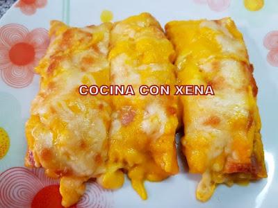 Puerros Con Jamón Y Queso, Gratinados Con Bechamel De Zanahoria ( Preparada Con Thermomix )