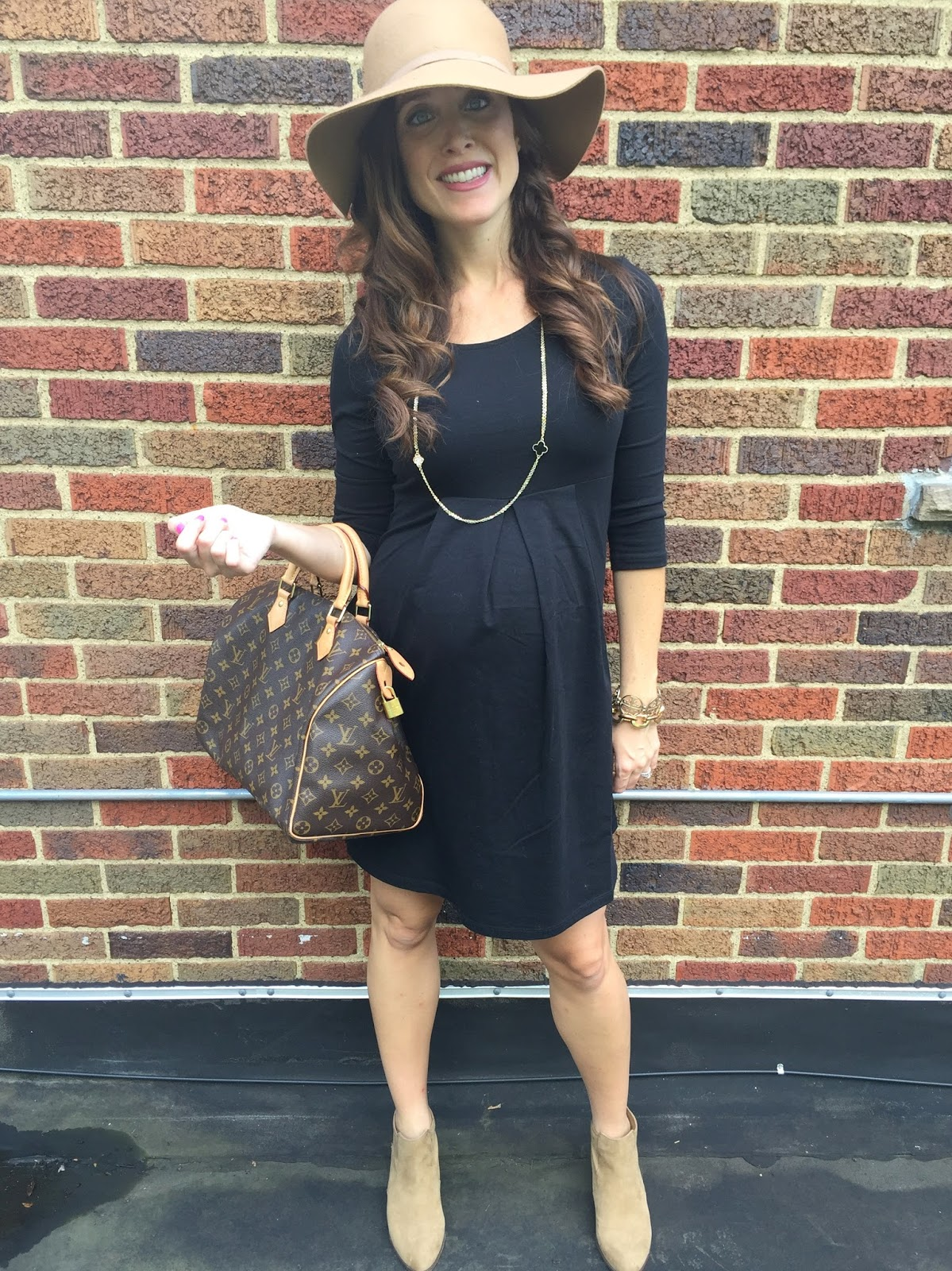7ac33cf78ab Maternity Black Swing Dress Old Navy  Non-maternity version at Old Navy HERE   Camel wool hat Forever 21  Camel ankle boots similar HERE  Necklace Van  Cleef  ...