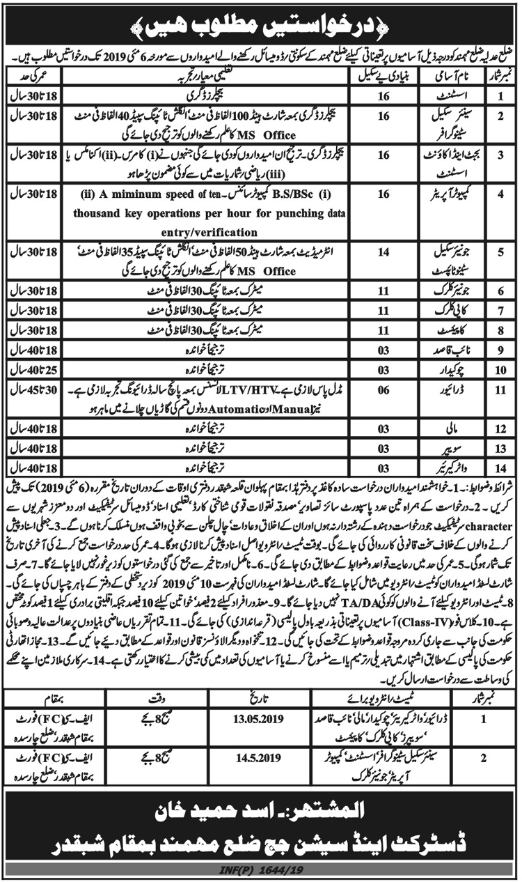 Office Of The District and Session Judge Khyber Jobs in Mohmand 2019