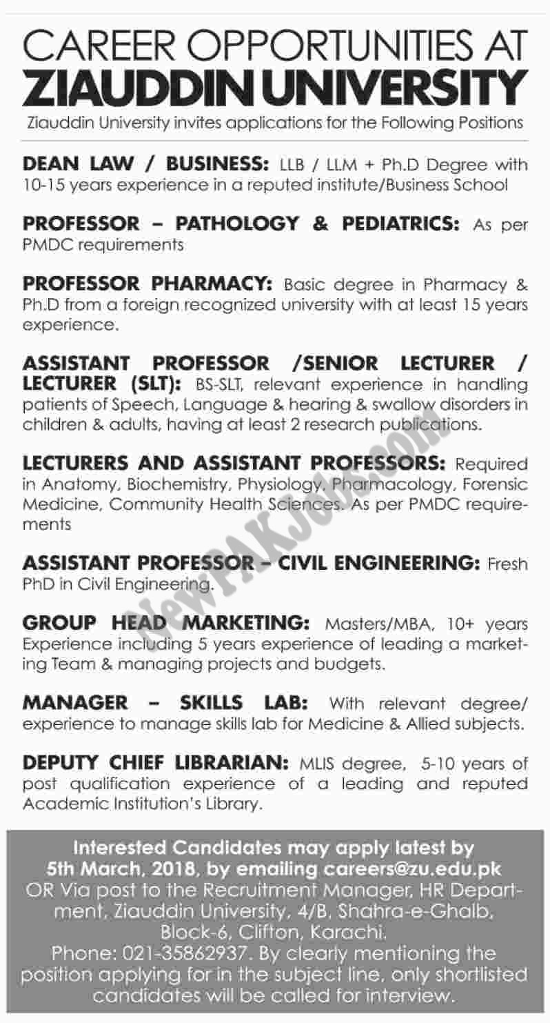 Latest 2018 Jobs in Ziauddin University