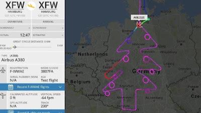 Keren! Pilotdi Hamburg  'Lukis' Pohon Natal di Atas Langit Dengan Pesawat Airbus A380