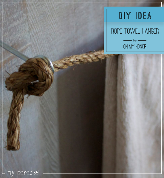 Diy rope towel hanger with a coastal vibe by On My Honor