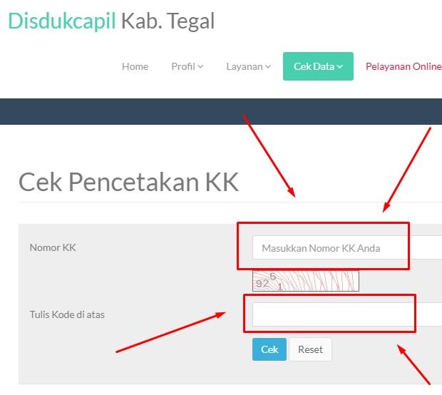Cek Nomor KK Secara Online Kabupaten Tegal Jawa Tengah