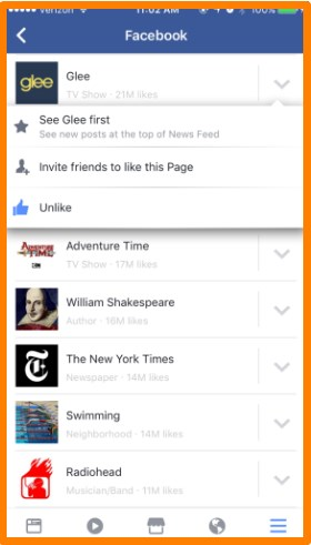 how to unlike pages on facebook android