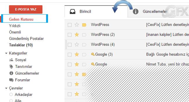 Gmail de Önemli Mailleri Birincil Sekmeye Nasıl Taşırız