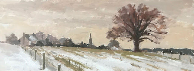#315 ' Homefield in Snow' 8×14″