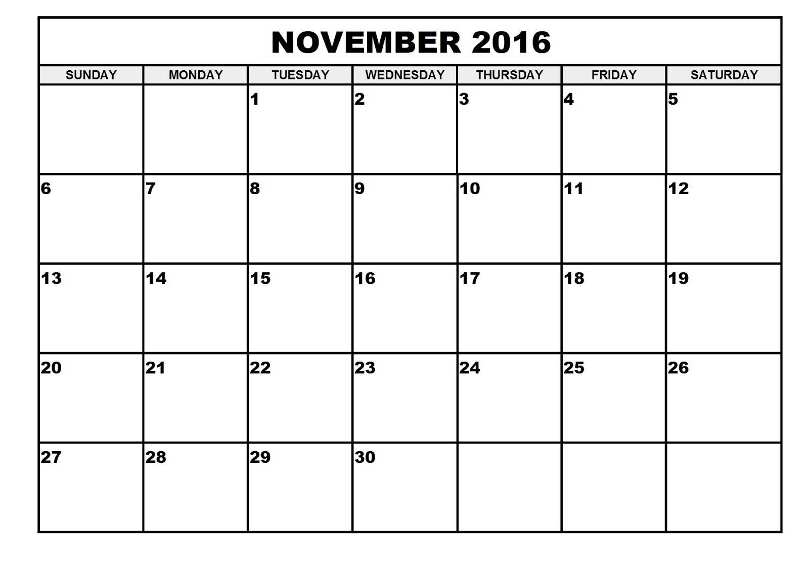 Daily Calendar November 2016 : November blank printable calendar