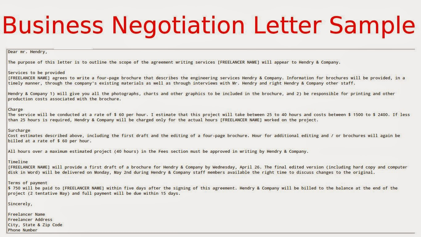 Offer Letter Negotiation Sample Sample Business Letter Negotiation