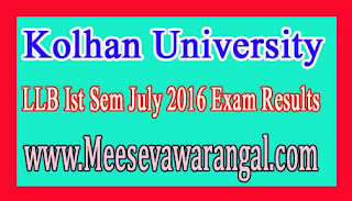 Kolhan University LLB Ist Sem July 2016 Exam Results