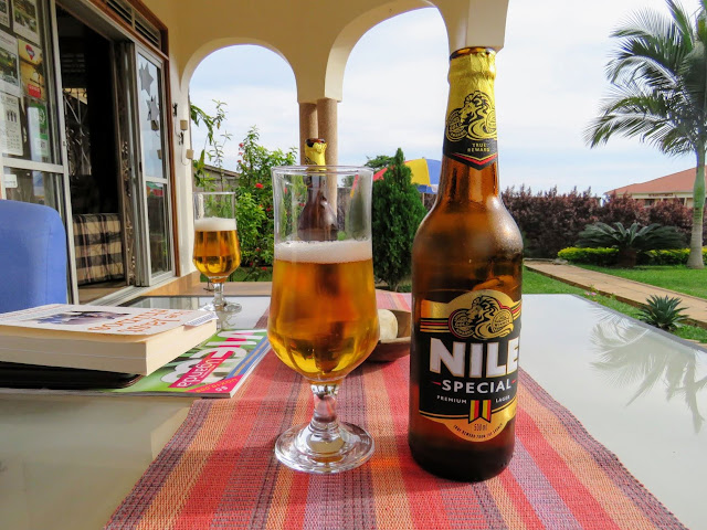 Nile beer at Carpe Diem Guest House in Entebbe, Uganda