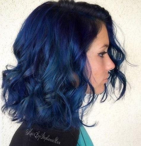 model rambut warna semir biru terbaru