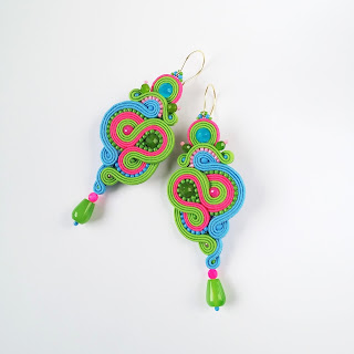 Cerera earrings in lime green, blue and fuschia
