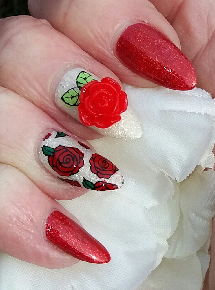Then Added A Matte Top Coat Just To The Full Rose Nail
