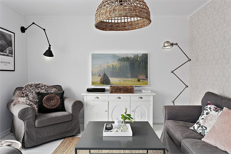 salon estilo nordico muebles ikea lampara ratan mueble television escandinavo interiorista barcelona alquimia deco