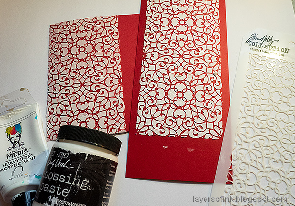 Layers of ink - Vintage Valentine's Card Tutorial by Anna-Karin Evaldsson. Texture paste lace stencil.