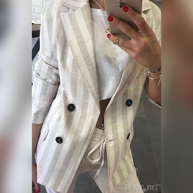 Γυναικείο άσπρο - μπεζ σακάκι HARMANY BEIGE