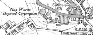 Heywood Gas Works, OS map, 1890.