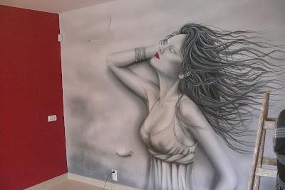 Mural ścienny w salonie fryzjerskim, Gdańsk cena malarstwo ściennego