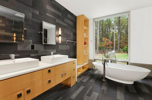 17 Modern luxury bathroom designs Black gray color schemes