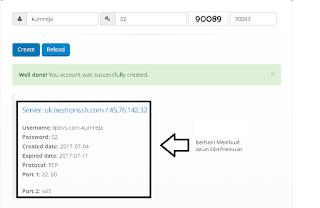 Sukses Membuat Akun SSH Premium