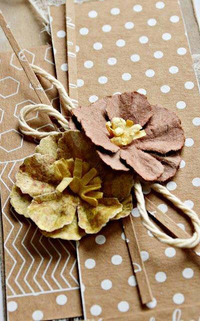 kwiaty z papieru i sznurek