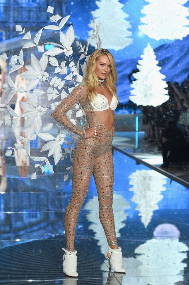 Candice put her toned body on show in a sheer bodysuit at the VS Fashion Show '15