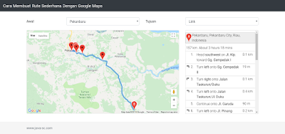Cara Menampilkan Informasi Rute Menggunakan Info Window di Google Maps