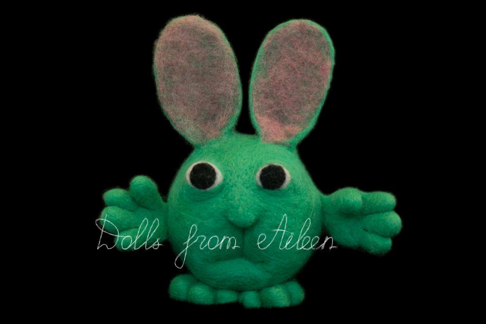 ooak needle felted cartoon bunny rabbit