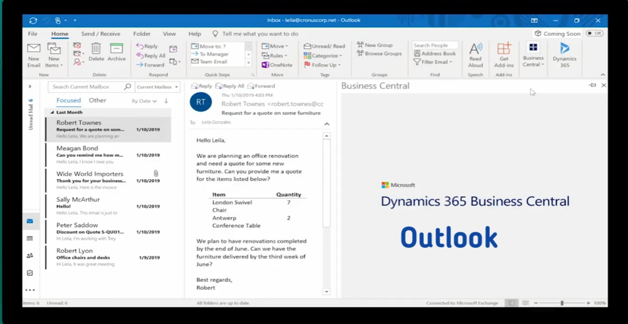 Microsoft Dynamics 365 Business central outlook increase Business