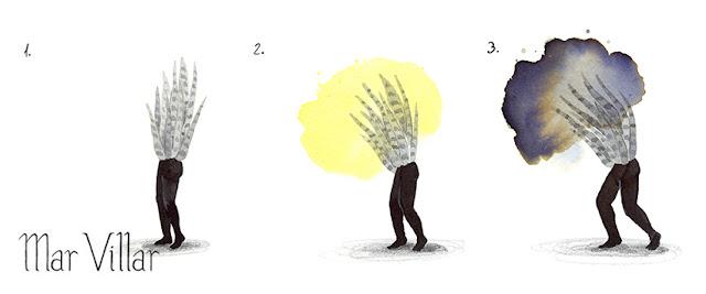 Inktober, Inktober 2016, plantas, sansevieria, ilustración a tinta, silueta humana, tinta, aguada de tinta, quink, tinta parker