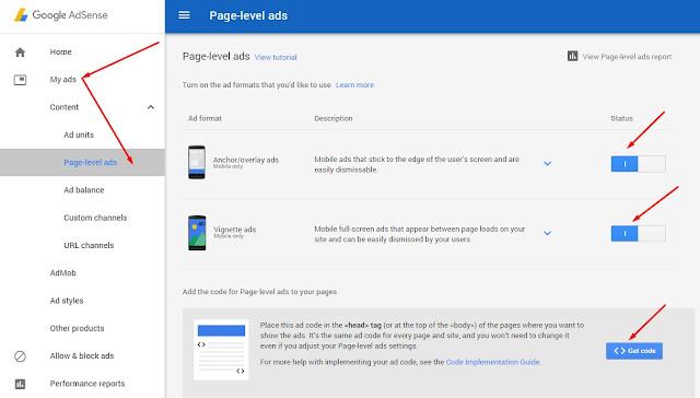 كيفية وضع إعلانات ادسنس على مستوى الصفحه في بلوجر