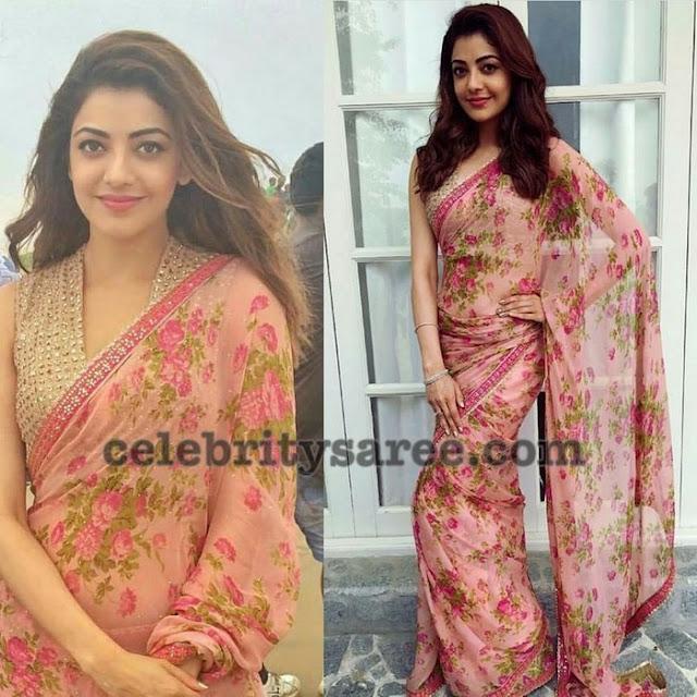 Kajal Agarwal Floral Sari Sleeve Less Blouse