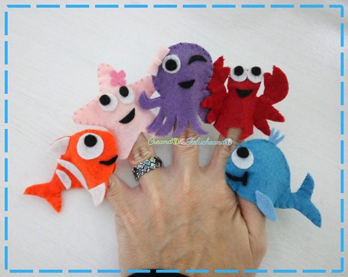 Titeres-de-dedo-animales-marinos-en-fieltro-creandoyfofucheando