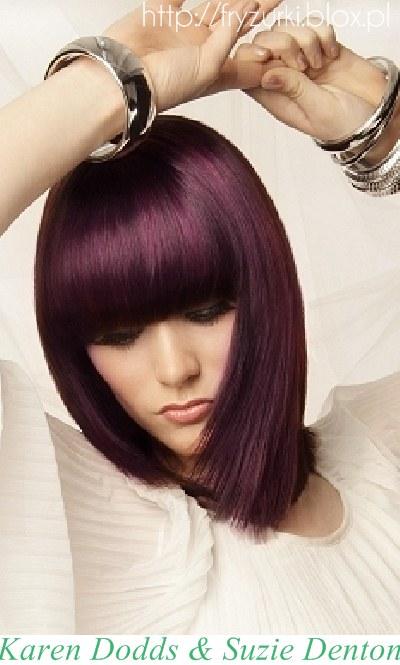 Wwwwlosyes Katalog Modnych Fryzur Fioletowe Włosy Z Prostą Grzywką