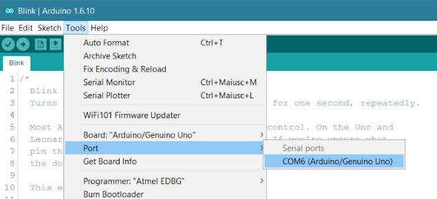 select COM PORT in Arduino IDE