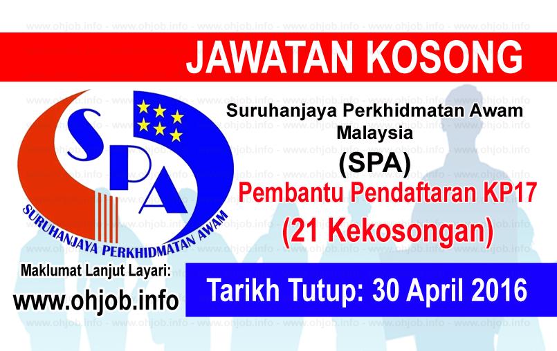 Jawatan Kerja Kosong Suruhanjaya Perkhidmatan Awam Malaysia (SPA) logo www.ohjob.info april 2016